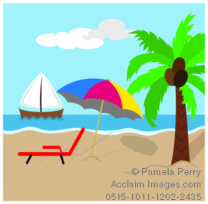 Beach clipart ocean scene Beach Umbrella Clip Art With
