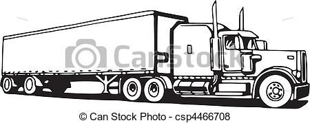 Drawn truck 18 wheeler  csp4466708 Search Clip csp4466708