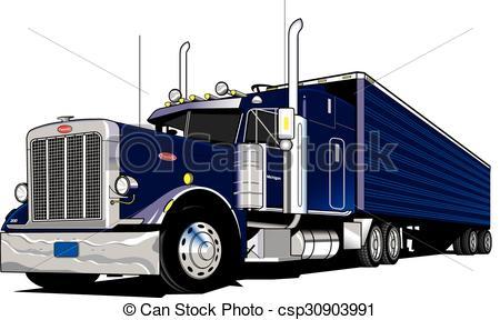 Drawn truck 18 wheeler Semi EPS Vectors truck of