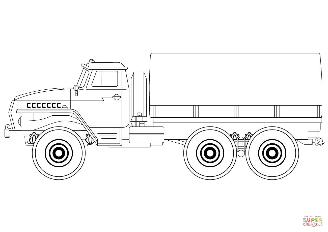 Truck clipart army truck Free Coloring Army coloring Truck