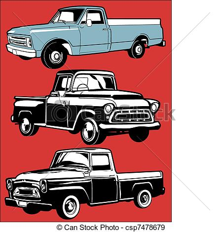 Truck clipart classic truck Clip of EPS Vintage art