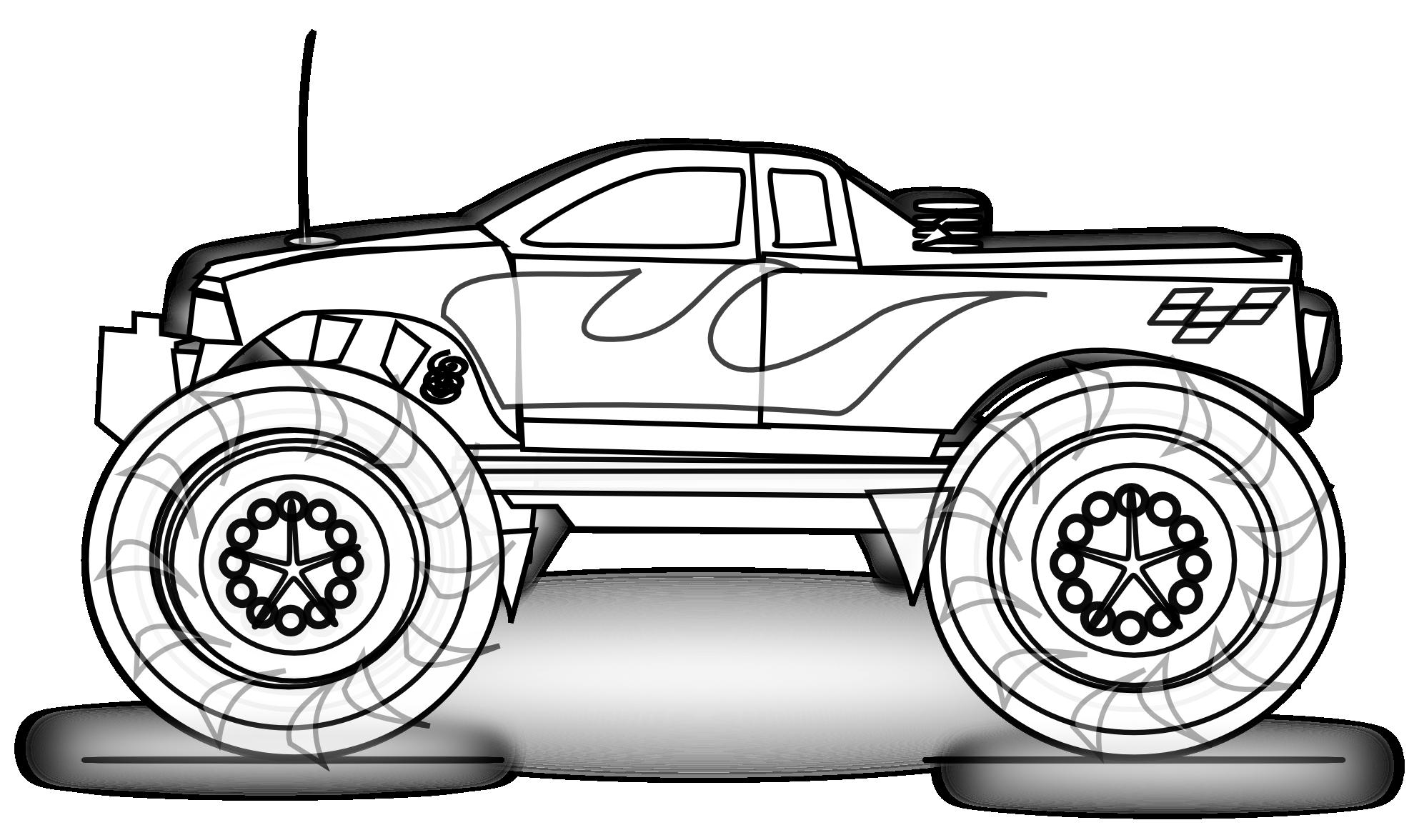Hot Wheels clipart monster jam Truck Line White Monster Coloring