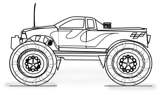 Truck clipart coloring book Monster Truck trucks Monster coloring