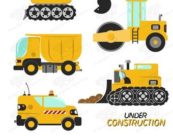 Excovator clipart digger Set Bulldozer Clip Digger Truck