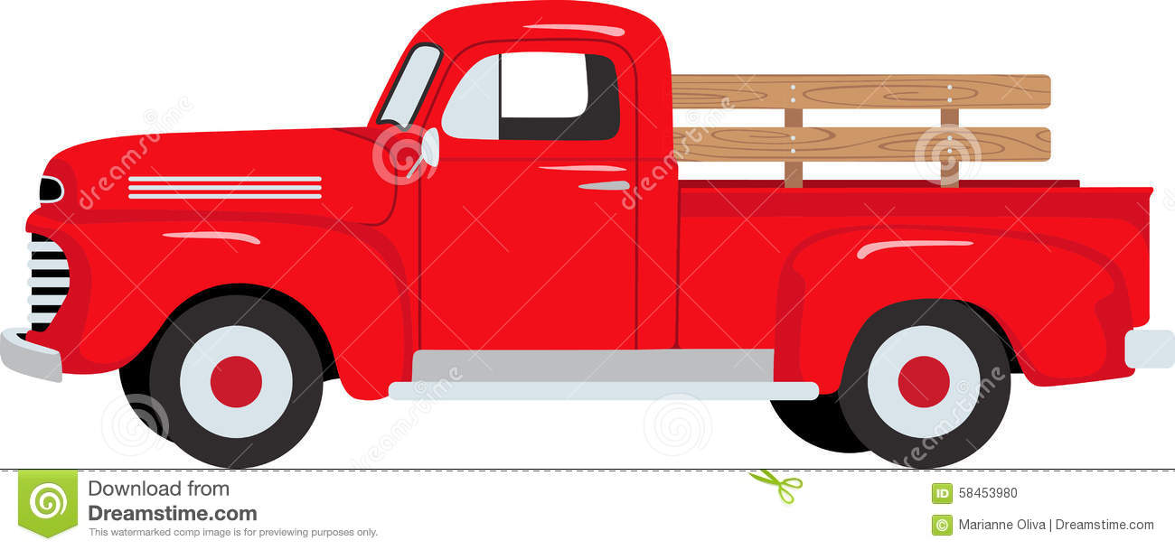 Red clipart pick up truck #4