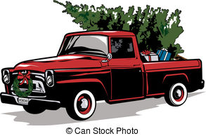 Truck clipart old fashioned Set Vector A Holiday