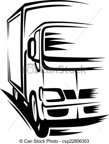Truck clipart on road Moving Vector of  on