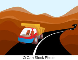 Truck clipart on road Curve mountain  road mountains