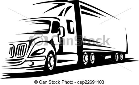 Truck clipart on road Moving Clipart of  on