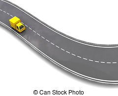Truck clipart on road On road Art free 3d