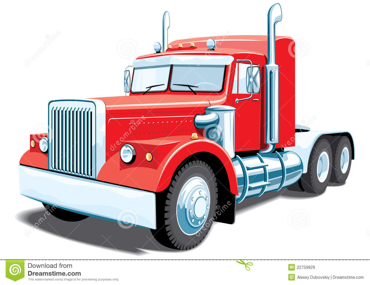 Red clipart semi truck #1