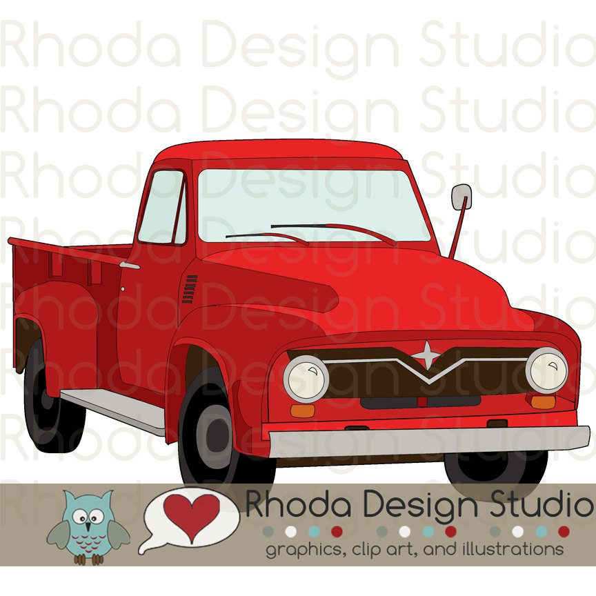 Red clipart pick up truck #11