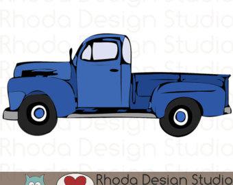Truck clipart vintage truck Truck truck Etsy Blue clipart