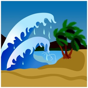 Tsunami clipart black and white Cliparts Beach Clipart Tsunami Flooding