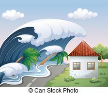 Tsunami clipart black and white The waves  with Clipart