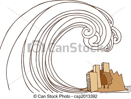 Tsunami clipart black and white Of Clip Stock Tsunami of