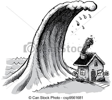 Tsunami clipart black and white Wave giant  House Tsunami