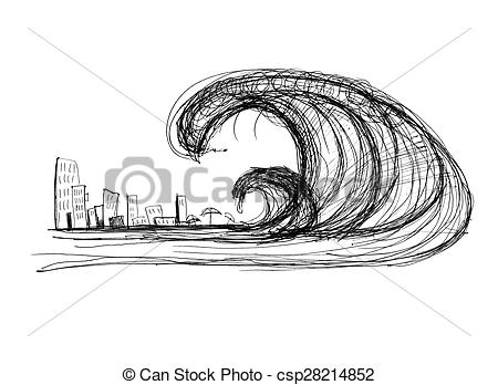 Tsunami clipart black and white Tsunami Illustrations Stock Tsunami