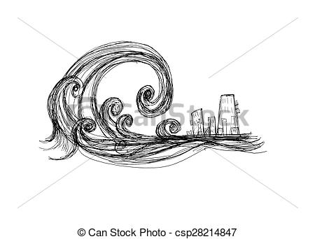 Tsunami clipart black and white City of  impending and