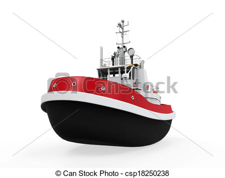 Tugboat clipart red boat Background of Illustration on Isolated