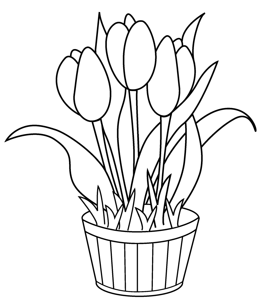 Tulip clipart colouring page #10