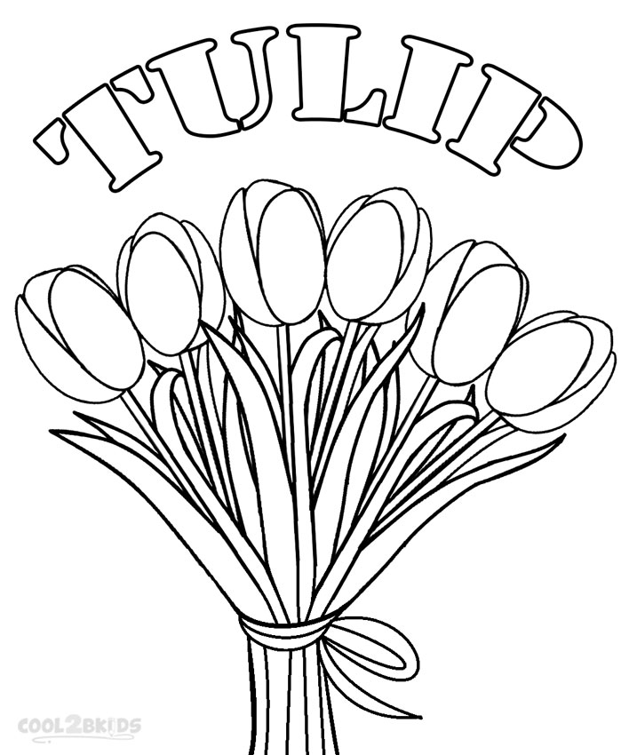 Tulip clipart colouring page #11
