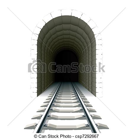 Tunel clipart drawing Vectors csp7292667 Illustration railway to
