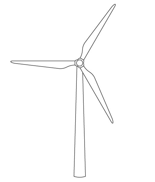Wind Turbine clipart black and white #2