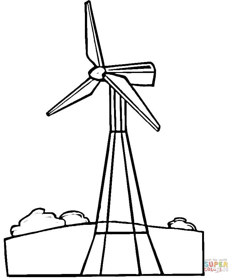 Turbine clipart black and white Wind Wind page Click Coloring