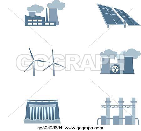 Turbine clipart power plant Power Art plants solar Vector