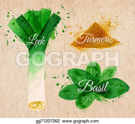 Turmeric clipart herbs and spice Spray Stock paper set leeks