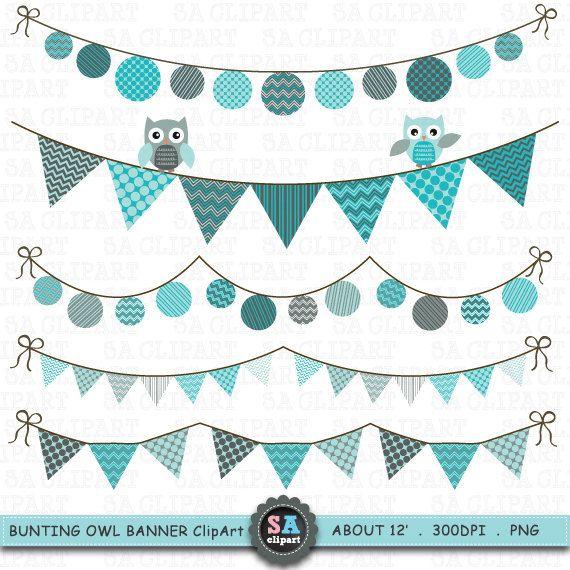 Bunting clipart teal Clipart banner aqua OWL best