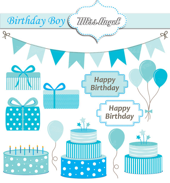 Cake clipart turquoise Birthday Digital Happy Boy Birthday