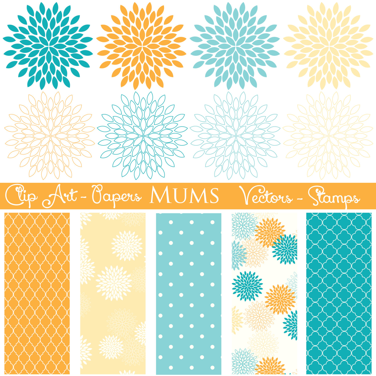 Yellow Flower clipart turquoise flower By Art Zone thePENandBRUSH Mums