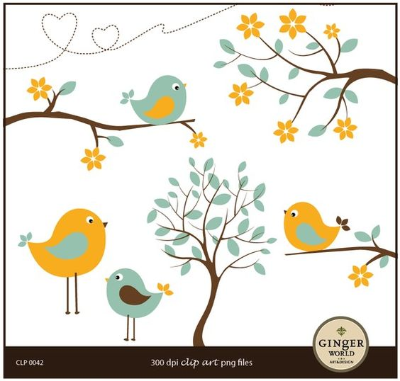 Yellow Flower clipart turquoise flower Clipart on tree clip bird