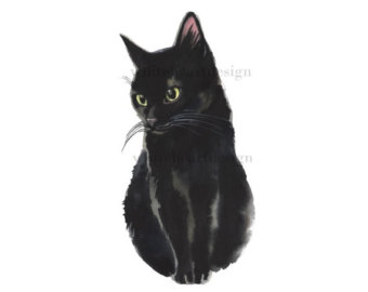 Black Cat clipart tuxedo cat Instant Painted Cat Cat and