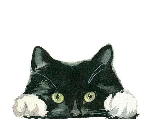 Tuxedo Cat clipart Black Digital Download Clipart Hand