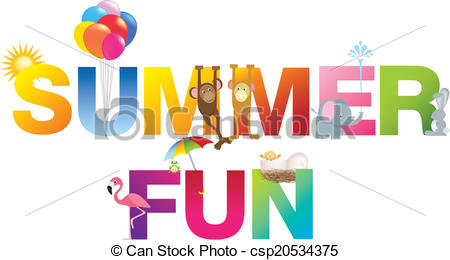 Word clipart fun Alphabet Vectors summer childrens typeface