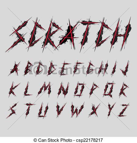 Typeface clipart Vector Clip Scratch font csp22178217