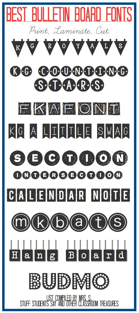Typeface clipart classroom Board Students Treasures: on Fonts!