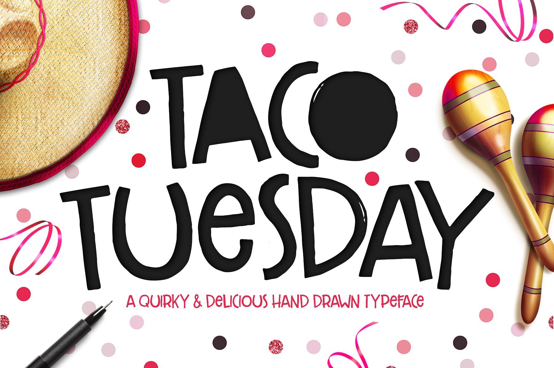 Drawn tacos delicious  Market Creative Typeface ~