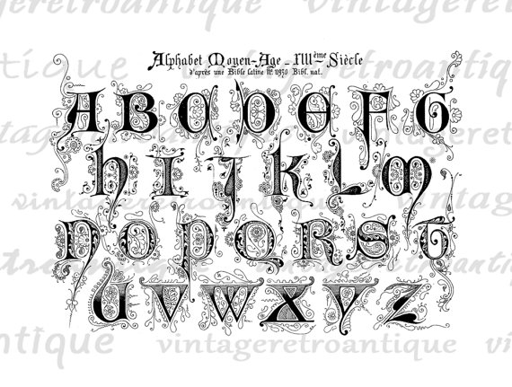 Typeface clipart medieval Digital Fancy Clip  Antique