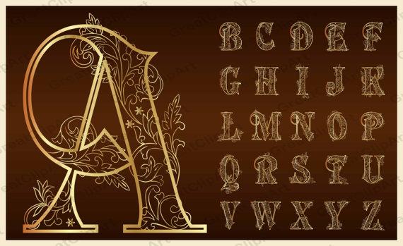 Typeface clipart ornate Alphabet Symbols Gold Fonts Alphabet