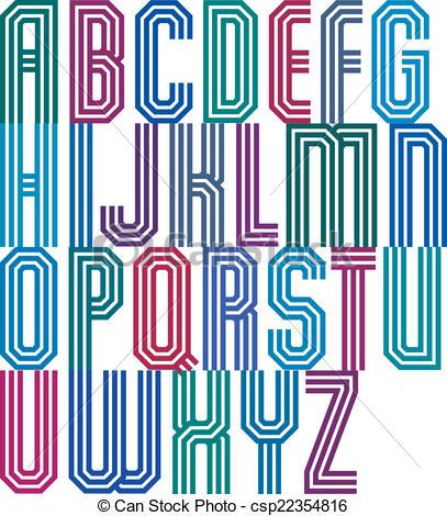 Typeface clipart retro Made font font stripe csp22354816