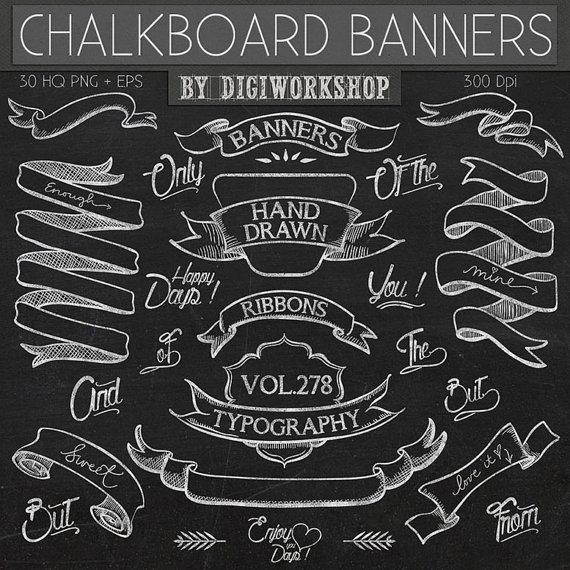 Drawn ribbon chalkboard Drawn drawn ribbons in