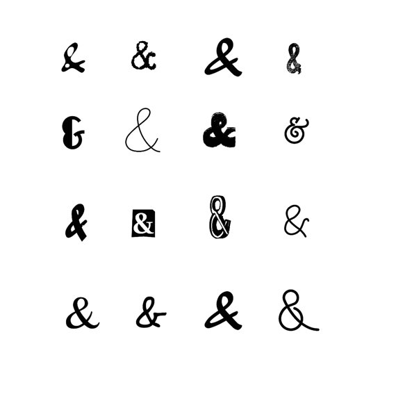 Typeface clipart scrapbook Black Ambersand Ampersand Clipart Instant