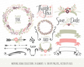 Decoration clipart wedding invitation Flowers LisaGlanzGraphics collection: elements clipart