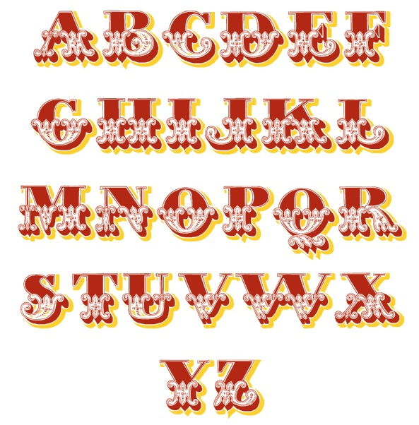 Typeface clipart vintage carnival  Fonts to cakes Related