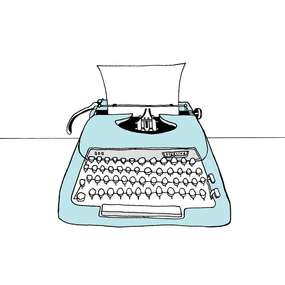 Typewriter clipart paper illustration Print Sterling print Giclee The