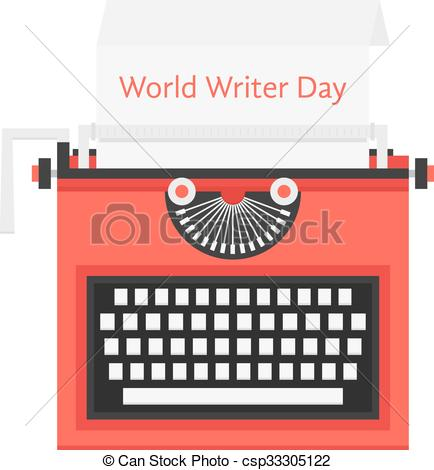 Typewriter clipart red Of day Illustration world Vector